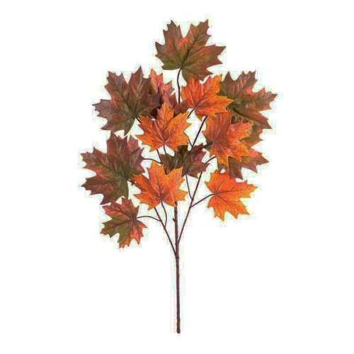 Autumn Artificial Maple Leaf Spray x 15 Leaves Dark Orange