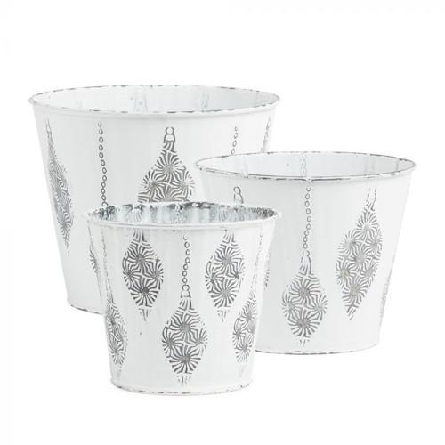 Metal Pot White With Raised Christmas Bauble Motif Set
