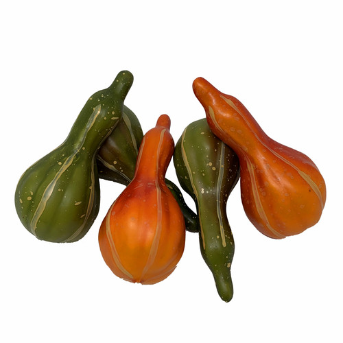 Pumpkin Gourds Box of 5 Assorted Artificial Autumn Fruits 10cm