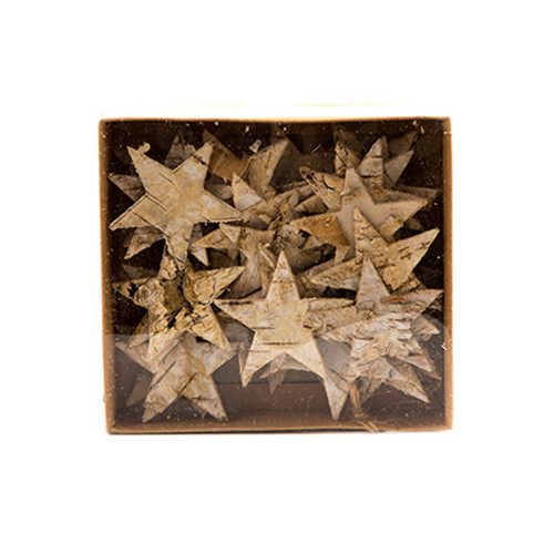 Birch Bark Stars Natural Wood 5cm