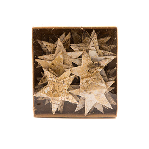 Birch Bark Stars Natural Wood 6.5cm
