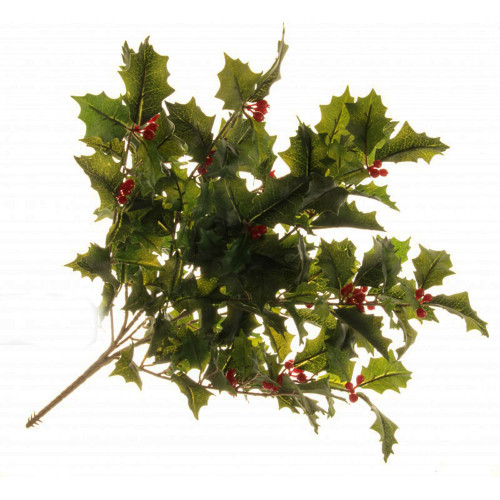 Holly Bush With Berries Artificial 50cm Green