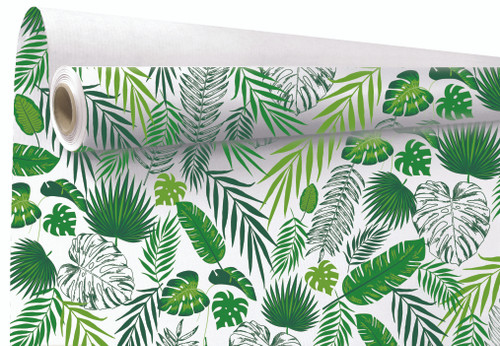 Kraft Paper Roll 79cm x 40m Tropical Leaf Print / White Back