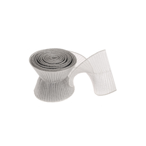 Ribbon Mesh Pleated Spiral Silver