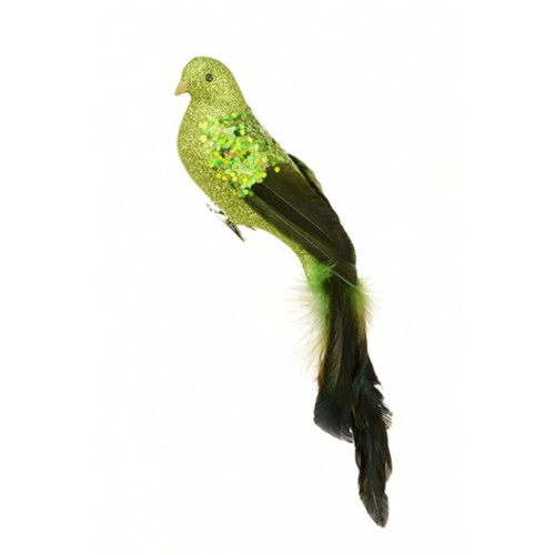 Glitter Bird Christmas Tree Decoration with Long Tail 35cm Lime Green