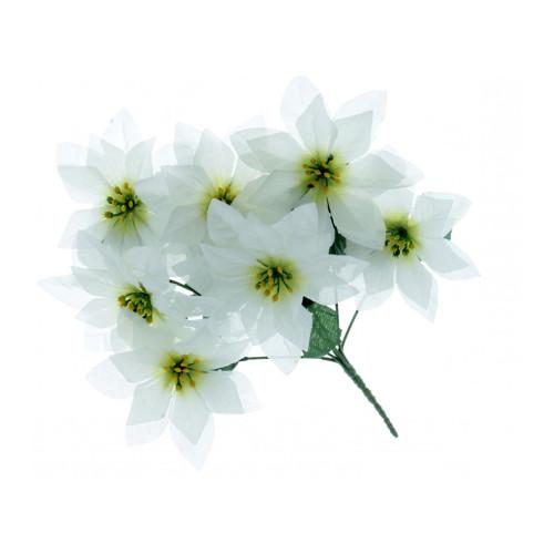 Poinsettia Bush White Artificial Silk 7 Heads 30cm
