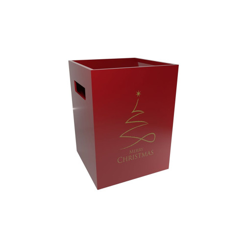 Cardboard Bouquet Box (18 x 18 x 24cm) x 10 Red Merry Christmas