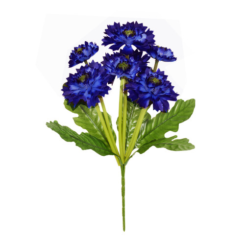 Artificial Cornflower Bouquet 7 Heads 36cm /14 Inches Dark Blue
