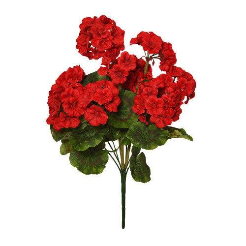 Geranium Bunch Faux Silk Artificial 47cm/ 18.5 Inches x 9 Heads Red