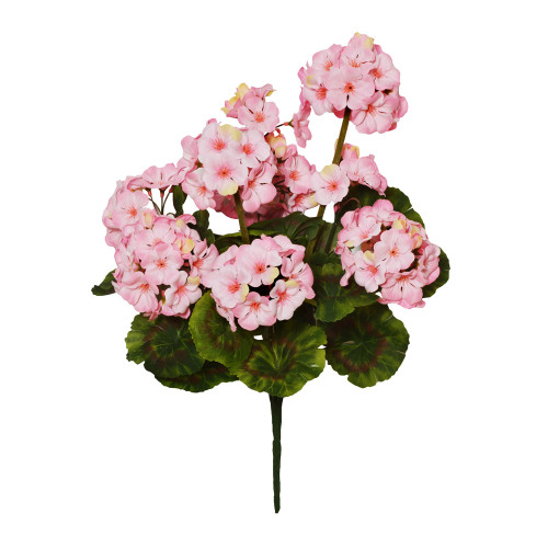 Geranium Bunch Faux Silk Artificial 47cm/ 18.5 Inches x 9 Heads Pink