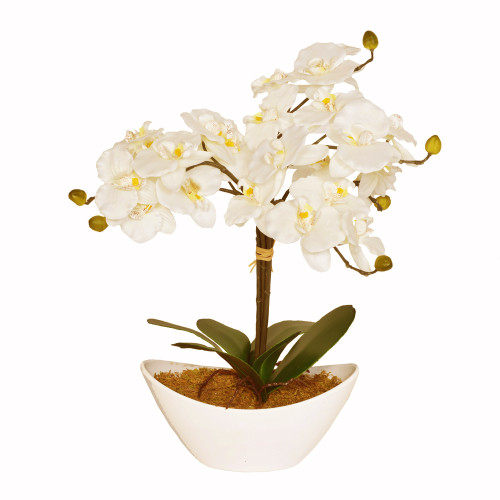 Large Artificial Cream Orchid in White Oval Bowl