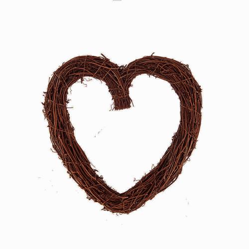 Natural Brown Vine Twig Heart Wreath 30cm