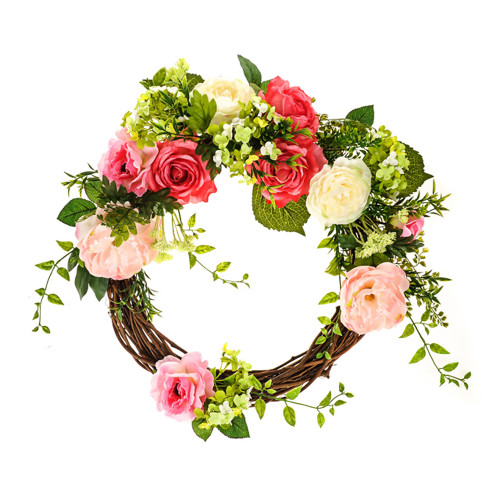 Puccini Artificial Twig Wreath Pink Rose Peony and Foliage