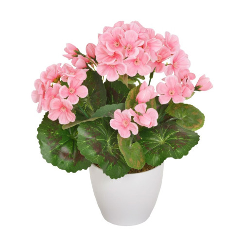 Artificial Mini Geranium in White Pot  Light Pink