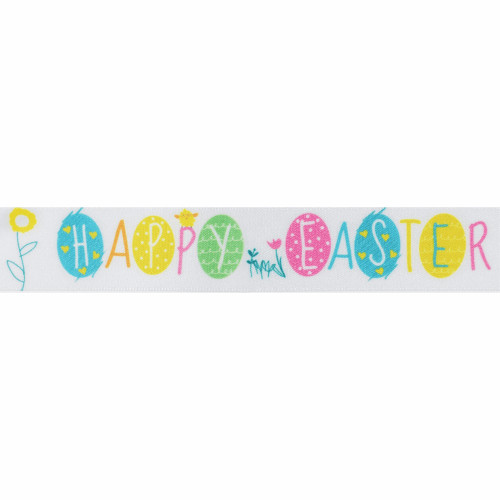 Easter Ribbon with Printed Egg and Flower Motif White