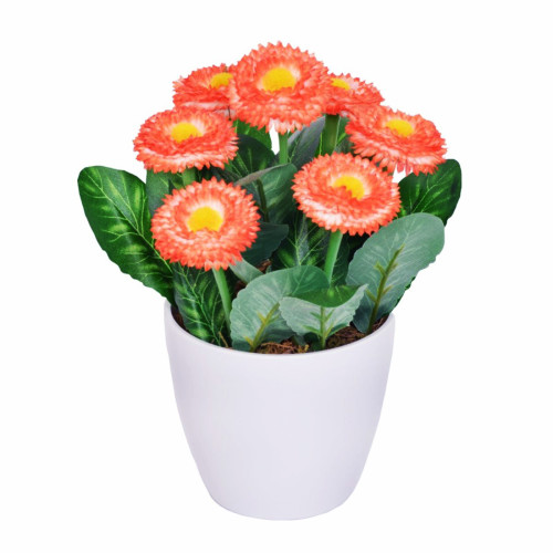 Artificial Bellis Daisy in a Pot 7 Heads Coral