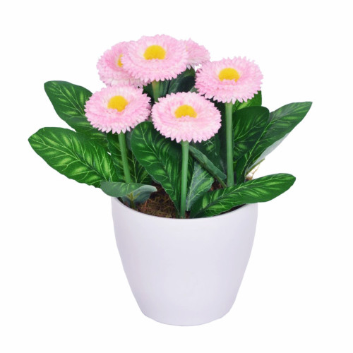 Artificial Bellis Daisy in a Pot 7 Heads Pink