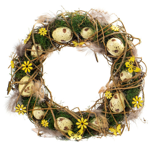 Spring Easter Twig Wreath with Eggs, Flowers and Greenery 32cm Yellow