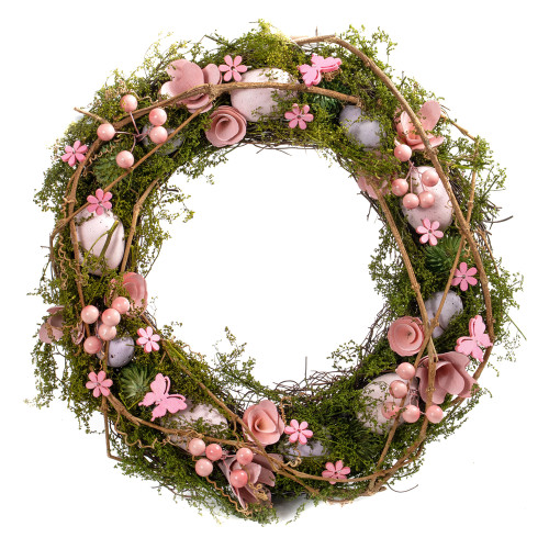 Spring Easter Twig Wreath with Eggs, Flowers and Greenery 41cm Pink