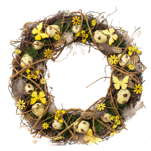 Spring Easter Twig Wreath with Eggs, Flowers and Greenery 41cm Yellow