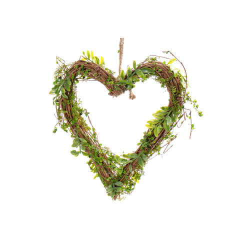Natural Twig Heart with Artificial Moss and Vines 24cm