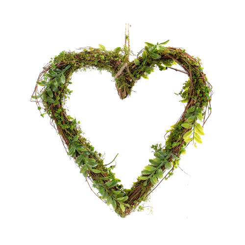 Natural Twig Heart with Artificial Moss and Vines 31cm