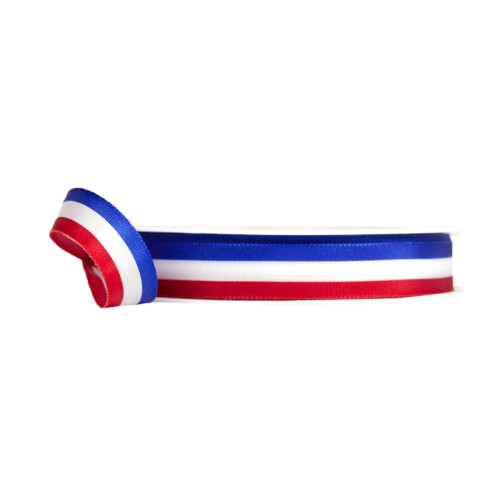 Tri-Colour Woven Fabric Ribbon 25m/27yds Red White Blue