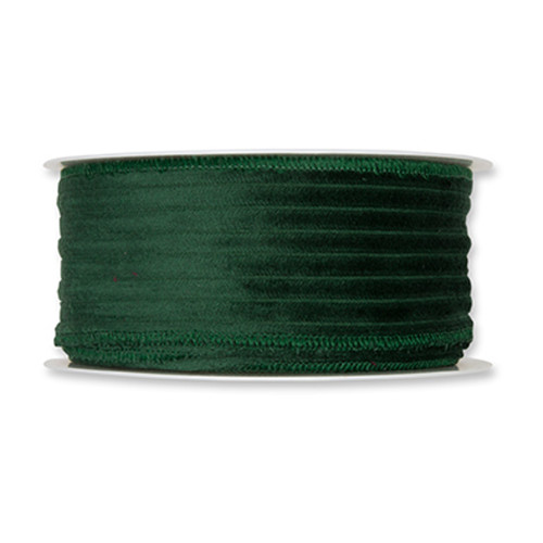 Corduroy Velvet Wired Edge Ribbon 50mm x 8m Green
