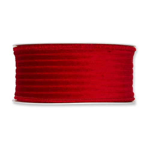 Corduroy Velvet Wired Edge Ribbon 50mm x 8m Bright Red