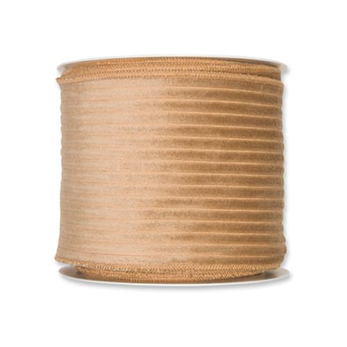 Corduroy Velvet Wired Edge Ribbon 100mm x 8m Camel
