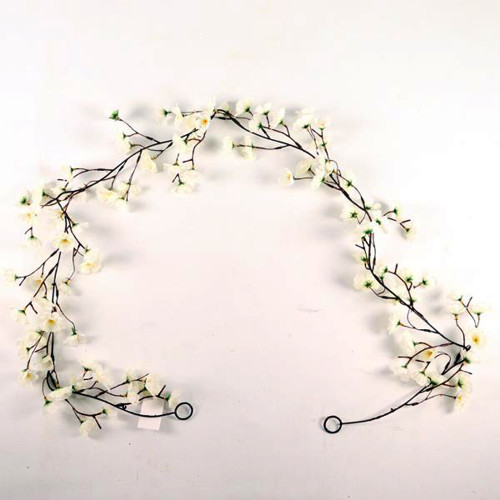 Spring Artificial Silk Blossom Garland 6ft White