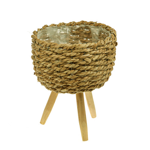 Rattan Round Lined Planter Bowl Three Wooden Legs Large