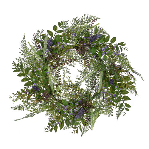 Artificial Lilac And Purple Bloom Wreath With Foliage 60cm
