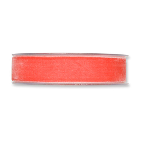 Velvet Fabric Ribbon 25mm x 9m Coral