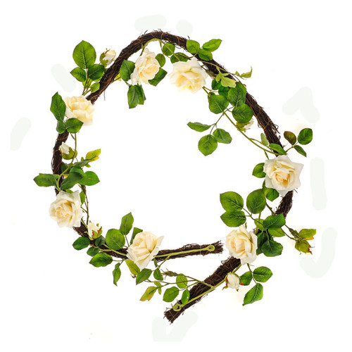 Cream Artificial Rose and Foliage Garland