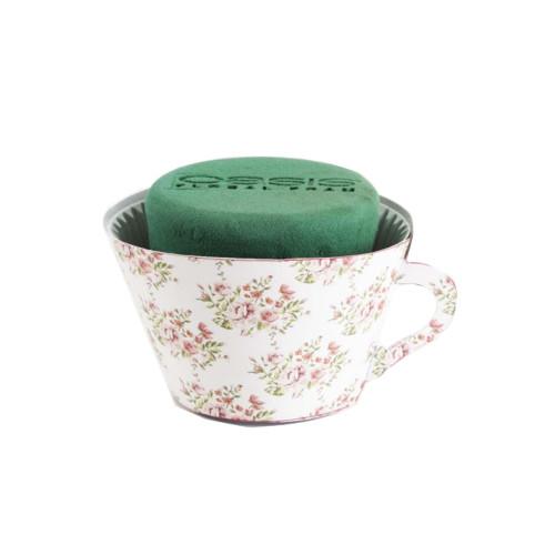Oasis® Ideal Floral Foam 12cm Tea Cups Pink Bouquet