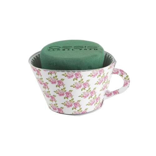 Oasis® Ideal Floral Foam 12cm Tea Cups Pink Rose