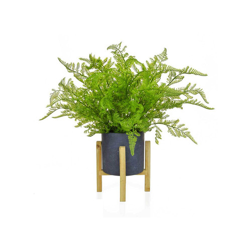 Artificial Feather Fern in a Grey Pot Wooden Legs