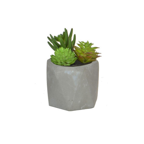 Artificial Green Succulent Mix in Cement Grey Pot