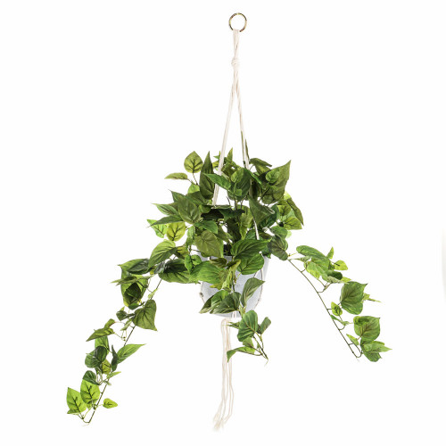 Hanging Faux Silk Philodendron Plant