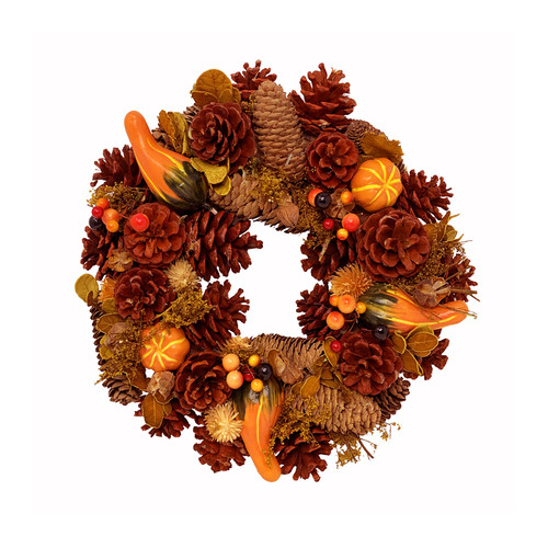 Autumn Wreath with Artificial Fruits Dried Flowers and Cones