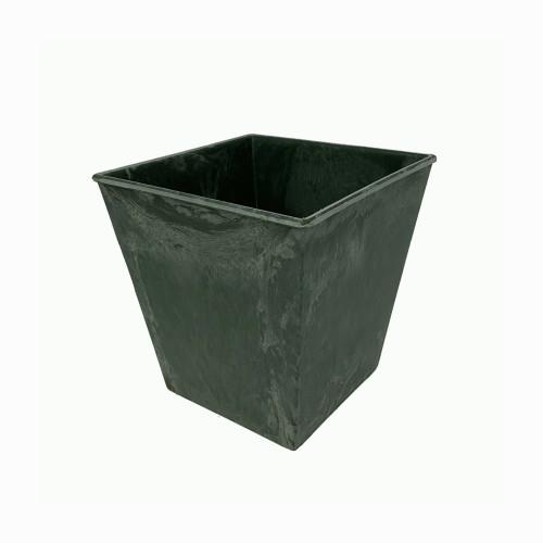 Square Plastic Pot Planter Marbled Anthracite Grey