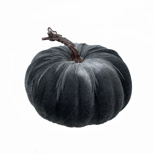 Velvet Pumpkin Seasonal Decoration Grey