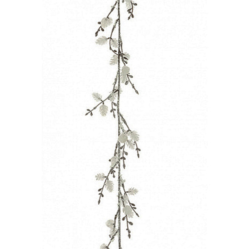 Mini White Pine Cone Garland With Snow