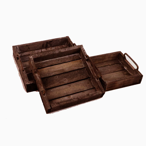 Nest Of Three Rustic Wooden Trays 30/25/20cm