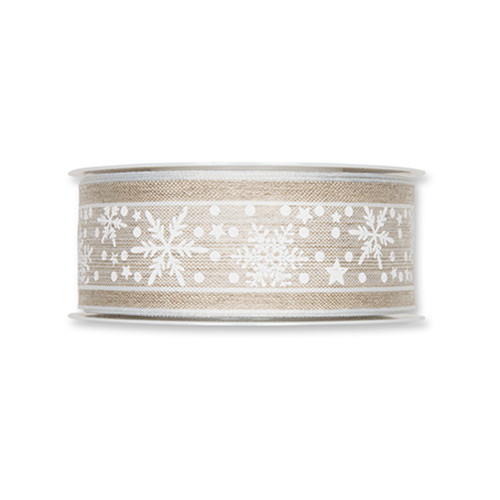 Natural Linen Colour Ribbon With Winter Snow Stars White