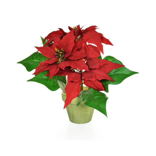 Potted Artificial Red Poinsettia Bush