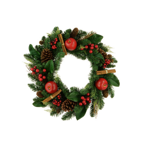 Traditional Seasonal Artificial Pine Wreath 60cm