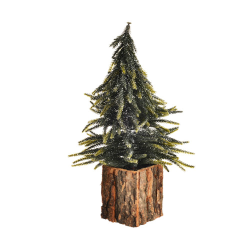 Woodland Christmas Tree With Glitter in Bark Pot 35cm Green