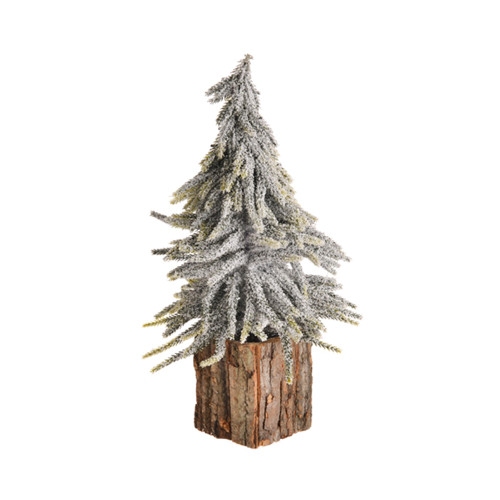 Woodland Christmas Tree With Glitter in Bark Pot 35cm White